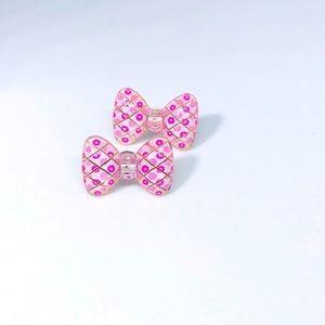 Pink Floral Bow Kawaii Handmade Stud Earrings